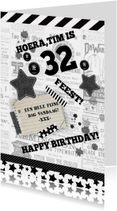 Verjaardag stoer zwart wit
