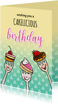 Verjaardag taartvorkjes met cake woordgrap