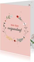 Verjaardag - Vrolijke cirkel van bloemen