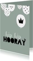 Verjaardagkaart ballonnen hip hip hooray