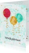 Verjaardagkaart glitters en ballonnen