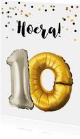 Verjaardagskaart 10 jaar goud zilver ballonnen