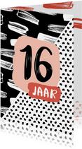 Verjaardagskaart 16 jaar zwartwit
