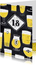 Verjaardagskaart 18 jaar bier