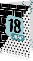 Verjaardagskaart 18 jaar zwartwit