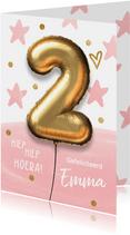 Verjaardagskaart 2 jaar ballon roze