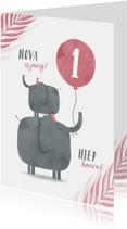 Verjaardagskaart 2 olifantjes met ballon en leeftijd jungle