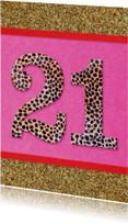 verjaardagskaart 21 roze glitter