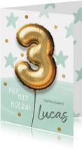 Verjaardagskaart 3 jaar ballon jongen mint