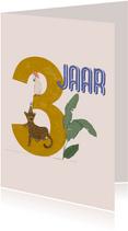 Verjaardagskaart - 3 jaar feestdieren