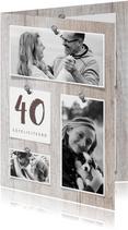 Verjaardagskaart 40 hout met fotocollage en spijkers