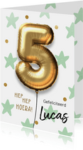 Verjaardagskaart 5 jaar ballon mint groene sterren