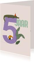 Verjaardagskaart - 5 jaar feestdieren