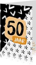 Verjaardagskaart 50 jaar zwartwit