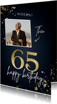 Verjaardagskaart 65 blauw met foto en spetters
