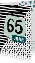 Verjaardagskaart 65 jaar zwartwit