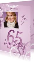 Verjaardagskaart 65 lila met foto en abstracte vormen