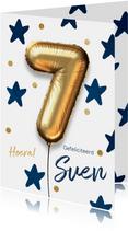 Verjaardagskaart 7 jaar ballon blauwe sterren