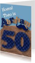 Verjaardagskaart Abraham snor letters