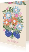 Verjaardagskaart armen vol bloemen