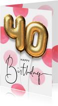 Verjaardagskaart ballon 40 jaar confetti