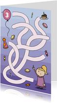 Verjaardagskaarten - Verjaardagskaart Ballon Doolhof Meisje