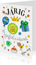 Verjaardagskaarten - Verjaardagskaart ballon en kado
