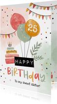 Verjaardagskaart ballonnen happy birthday slingers confetti