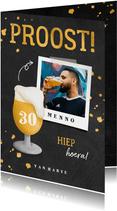 Verjaardagskaart bierglas met foto en leeftijd