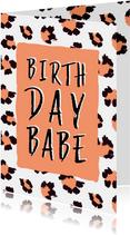 Verjaardagskaart Birthday Babe panterprint