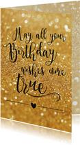Verjaardagskaart Birthday wishes goud