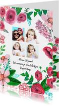 Verjaardagskaart Bloemen en 4 foto's