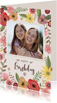 Verjaardagskaart Bloemen & Foto
