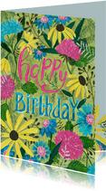 Verjaardagskaart bloemen feest