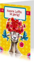 verjaardagskaart bloemen geit