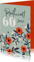 Verjaardagskaart bloemen hartjes vrouw groen rood
