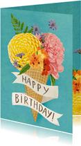 Verjaardagskaart bloemen ijsje