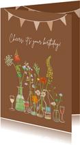 Verjaardagskaart bloemen in vaasjes