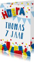 Verjaardagskaart blokken confetti jongen