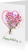 Verjaardagskaart boeket bloemen met harten