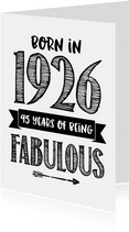 Verjaardagskaart born in 1926 - 95 years of being fabulous