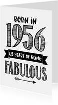 Verjaardagskaart born in 1956 - 65 years of being fabulous