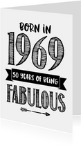 Verjaardagskaart born in 1969 - 50 years of being fabulous