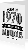 Verjaardagskaart born in 1970 - 50 years of being fabulous