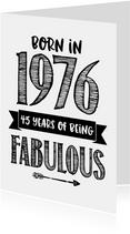 Verjaardagskaart born in 1976 - 45 years of being fabulous