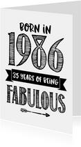 Verjaardagskaart born in 1986 - 35 years of being fabulous