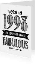Verjaardagskaart born in 1998 - 21 years of being fabulous