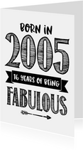 Verjaardagskaart born in 2005 - 16 years of being fabulous