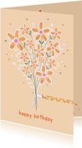 Verjaardagskaart bos bloemen oranje