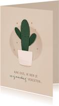Verjaardagskaart cactus kak dus te laat